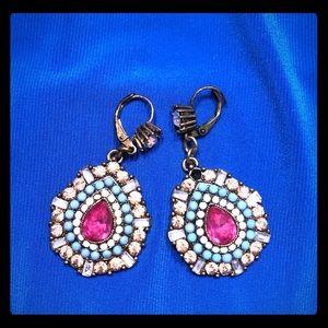 Betsey Johnson jeweled drop earrings and bracelet
